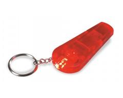 Брелок с LED-фонариком и свистком, красный