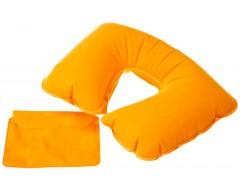 Надувная подушка под шею в чехле, оранжевая