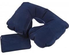 Надувная подушка под шею в чехле, темно-синяя