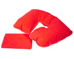 Надувная подушка под шею в чехле, красная