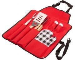 Набор-фартук для барбекю, 6 предметов, красный