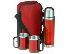 Набор: термофляга и 2 кружки в чехле, красный