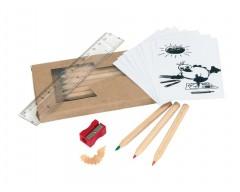 Набор карандашей с раскраской, точилкой и линейкой «Ребенок занят делом»