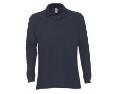 Рубашка поло мужская с длинным рукавом STAR 170 темно-синяя