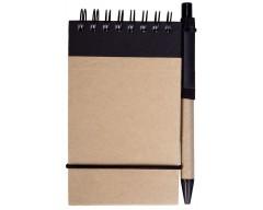 Блокнот на кольцах Eco note с ручкой, черный