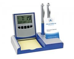 Настольный складной прибор с часами, датой, термометром, синяя