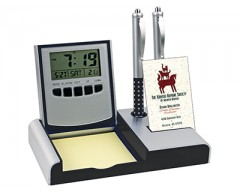 Настольный складной прибор с часами, датой, термометром, черная