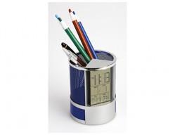 Подставка под ручки с часами, датой, термометром и двумя выдвижными отделениями