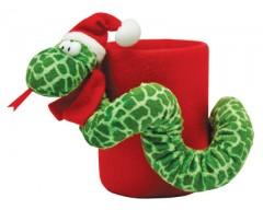 Новогодняя подставка под ручки с мягкой игрушкой «Змейка».