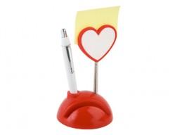 Подставка под визитки с ручкой и держателем для записок «Сердечко»