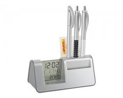 Подставка под ручки и визитки с часами, датой и термометром