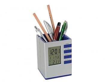Подставка под ручки с часами, датой и термометром
