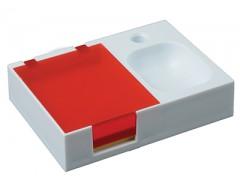 Подставка под ручку и скрепки с бумажным блоком красная