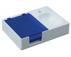 Подставка под ручку и скрепки с бумажным блоком синяя