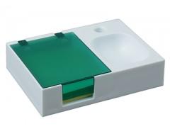 Подставка под ручку и скрепки с бумажным блоком зеленая
