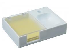 Подставка под ручку и скрепки с бумажным блоком желтая