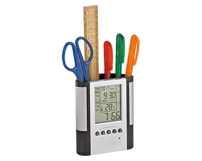 Подставка под ручки с часами, календарем и термометром