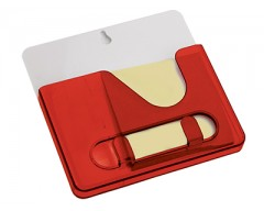 Подставка под ручки с бумажным блоком и крючками для ключей красная