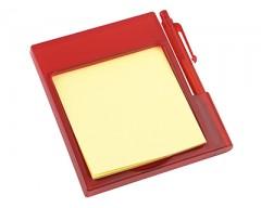 Подставка на магните с бумажным блоком и ручкой красная