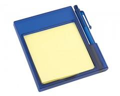 Подставка на магните с бумажным блоком и ручкой синяя