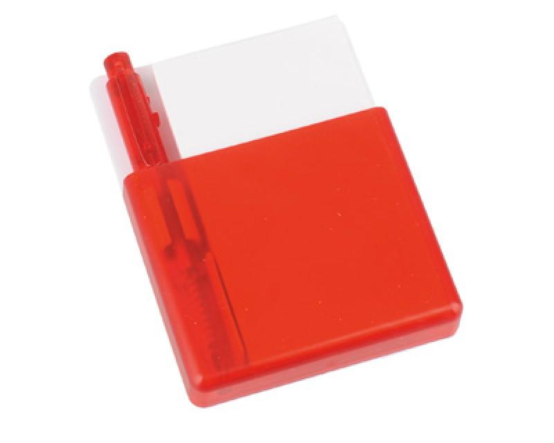 Подставка с бумажным блоком и ручкой красная
