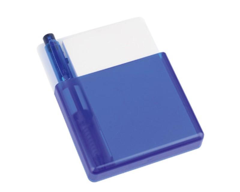 Подставка с бумажным блоком и ручкой синяя