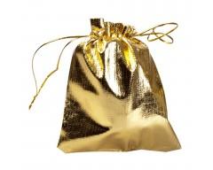 Мешочек подарочный из золотистой парчи, средний